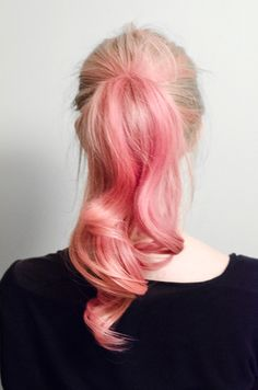 pink hair pony tail