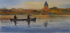 """""""Canoeing Wascana"""" an original watercolor by Lydia Greter completed recently."""