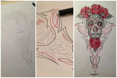 Sugar skull pinstriped with roses tattoo design by Jayne Kay #illustripe https://www.facebook.com/pages/Illustripe/126876850704412
