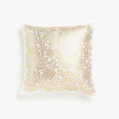 Изображение товара Чехол для подушки, с золотистым цветочным принтом