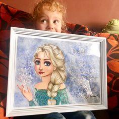 Sister from another mother ❤️ She's loving her gift �� #disney #frozen #elsa #lareinedesneiges #frame #drawing #illustration #gift #love #art #artwork #glitter http://misstagram.com/ipost/1548498315960000100/?code=BV9XwOaFh5k