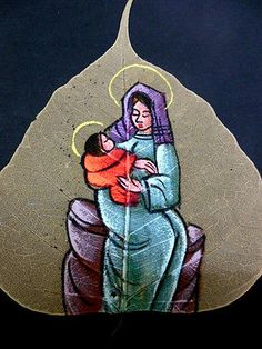 Indian Vintage Folk Art MOTHER MARY Painting On Ficus Fig Tree Leaf Decorative