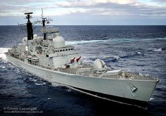 Royal Navy Type 42 destroyer HMS Manchester is pictured operating in the Atlantic Ocean near Gibraltar.