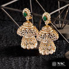woww she looks so beautiful 😍 & ashok selvan to qt 😍 for NAC Jewellers ✨ _____ [ ] Gold Jewellery Design, Gold Jewelry, Jewelery, Fashion Jewellery, Gold Jhumka Earrings, Diamond Earrings, Sunflower Jewelry, Traditional Earrings, Hanging Earrings
