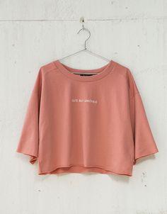 Wide cropped jumper with text - Sweatshirts - Bershka Ukraine