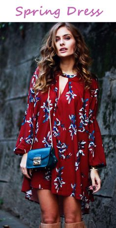 To find out about the Oxblood Baggy Long Sleeve Floral Flowery Dress at SHEIN, part of our latest Dresses ready to shop online today! Outfit Vestido Rojo, Red Boho Dress, Flowery Dresses, Vintage Dresses, Long Sleeve Floral Dress, Keyhole Dress, Classy Women, Women's Fashion Dresses, Dress Collection