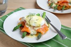 Smoked Salmon Asparagus Quinoa Cake Eggs Benedict    Asparagus quinoa cakes topped with poached eggs, asparagus, smoked salmon and a buttery, lemony hollandaise sauce.