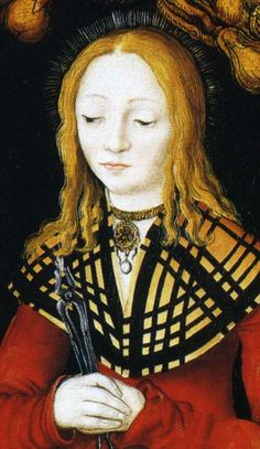 1506 Lucas Cranach the Elder: Saints Genevieve and Apollonia  DETAIL of Saint Apollonia