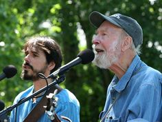 Spook Handy, left, is raising funds for a CD and tour in tribute to the late folk music legend Pete Seeger, right. (Photo: ~Courtesy of Spook Handy)