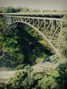Bridge between zimbabwe and zambia at victoria falls