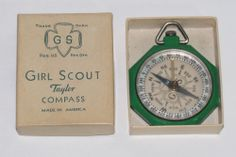 Vintage Girl Scout Taylor Compass w/Original Box Made in USA- No Reserve!