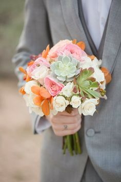 Secculents + flowers ~ Oasis in the Desert Wedding Inspiration ~ Allure Bridals, Amy and Jordan Photography, Encore Creative | bellethemagazine.com