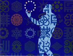 Owusu-Ankomah, Microcron - Kusum acrylic on canvas, 135 X 175 cm. Símbolos Adinkra, Ghana, Artwork, Projects, Pattern, Fictional Characters, Afro Art, African Art, Concept