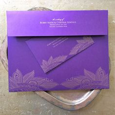 Don't neglect your envelopes! They are truly the first impression. We love these regal custom made purple and gold set!