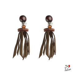 Brown earrings with fringe - Jewelry - €14.90