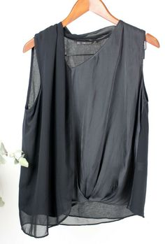 fc4a6abd94f Details about ZARA Ladies - Size L - Black Sleeveless Drape Blouse Top