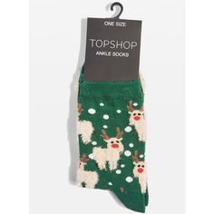 TopShop Xmas Fluffy Reindeer Socks (€5,11) ❤ liked on Polyvore featuring intimates, hosiery, socks, forest, topshop socks, cotton socks and christmas socks