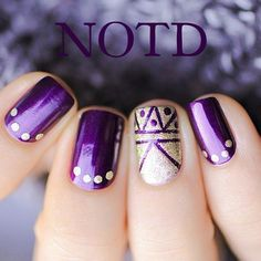 15 Interesting Nail Ideas - Shown: Purple and gold geometric and dots nail art design #manicure...x