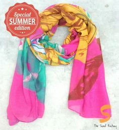 Fuchsia Pink Floral Scarf with Big Yellow and Mint Green Rose Shop now @TheScarfFactory.ph!