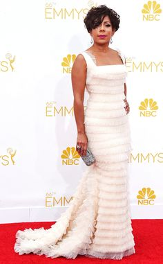 Selenis Leyva from 2014 Emmys: Red Carpet Arrivals...Gorgeous fabric & silhouette. Pick 1-3 details to recreate for that unique wedding dress. Cheaper to have custom-made than purchasing from salon.