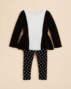 Nicole Miller Infant Girls' Textured Knit Tunic & Polka Dot Leggings Set - Sizes 12-24 Months