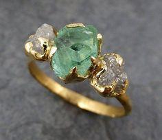 Three raw Stone Diamond Emerald Engagement Ring 18k Gold Wedding Ring Uncut Birthstone Stacking Ring Rough Diamond Ring