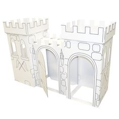 FunDeco Build your own Castle x Playhouse to rule the kingdom, and decorate it any way you desire! Made from cardboard the castle can be colored or decorated using a variety of art materials. It assembles in minutes without tools. Cardboard Castle, Cardboard Playhouse, Build A Playhouse, Cardboard Crafts, Cardboard Rocket, Cardboard City, Cardboard Houses, Backyard Playhouse, Castle Playhouse