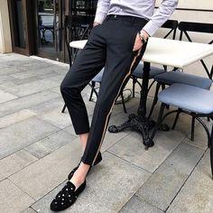 Side Tape Pant Men Dress Pant Business Casual Office Trousers Men Ankle Length Slim Fit Men Social Trouser