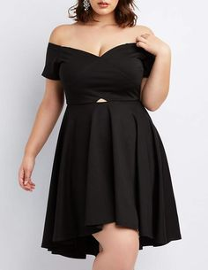 3ed29fa2c8f Charlotte Russe Plus Size Wrapped Off-The-Shoulder Skater Dress Plus Size  Party Dresses