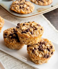 Baked Banana Oatmeal Cups. A hearty and healthy oatmeal that you can make ahead. Baked in individual cups so they're easy to grab and go!