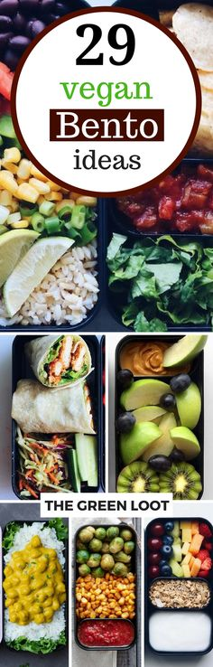 These healthy vegan bento box ideas and recipes for lunch will make sure that you or your kiddos never go hungry or have to buy junk food! A ton of delicious and plant-based ideas you can make for work, school or road trips. | The Green Loot #vegan #bento Food For School Lunches, Vegan Lunch For School, Healthy Work Lunches, Healthy Lunchbox Ideas, Lunch To Go, Healthy Meals, Easy Meals, Healthy Recipes, Bento Lunch Ideas