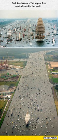 Funny pictures about Sail Amsterdam. Oh, and cool pics about Sail Amsterdam. Also, Sail Amsterdam photos. The Places Youll Go, Places To Visit, Boat Parade, Tall Ships, Aerial Photography, Water Crafts, Aerial View, Beautiful Places, Beautiful Pictures
