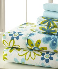 Look at this Blue & Green Palazzo Home Luxurious Sheet Set on #zulily today!