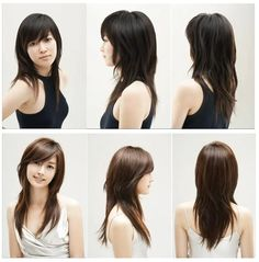 Layered medium-length haircut with side bangs