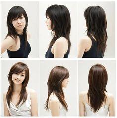 Layered medium-length haircut with side bangs