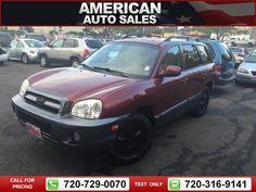 2005 Hyundai Santa Fe GLS 2.7L 4WD Red 124k miles Call for Price 124607 miles 720-729-0070 Transmission: Automatic  #Hyundai #Santa Fe #used #cars #AmericanAutoSalesandLeasing #Denver #CO #tapcars
