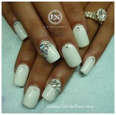 White Gel Nails with Bling!