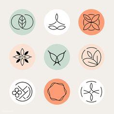 Healthcare center logo template vector set premium image by TK Yoga Logo, Cosmetic Logo, Cosmetic Design, Spiritual Logo, Pilates Logo, Logo Fleur, Animated Gifs, Fleur Design, Leaf Logo
