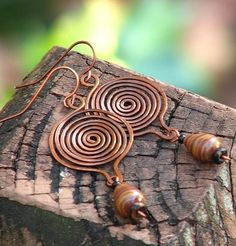 African Inspired Disc Earrings, Copper and Zebra Jasper