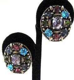 Pastel Rhinestone Oval Earrings