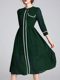 #AdoreWe #StyleWe Midi Dresses - Designer YIYIQI Binding Casual 3/4 Sleeve A-line Crew Neck Midi Dress - AdoreWe.com
