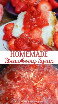 Best Summer Desserts, Easy To Make Desserts, Summer Dessert Recipes, Fruit Recipes, Sweet Recipes, Delicious Desserts, Raspberry Syrup, Strawberry Syrup, Homemade Sauce