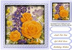 Stunning Yellow roses and Lilac Stock on Craftsuprint - View Now!