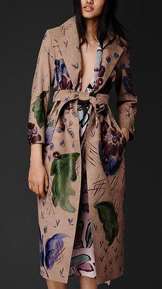 Trench coat de camurça pintado à mão   Burberry