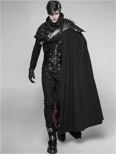 Gothic Male Langer Dracule-Umhang mit markantem Stehkragen Get Growth From Your Plants Article Body: Gothic Fashion, Mens Fashion, Fashion Fantasy, Fantasy Outfits, Gothic Mode, Mode Costume, Shoulder Tattoos For Women, Character Outfits, Costume Design