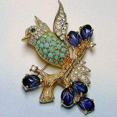 Let's Get Vintage - Brooches/Pins - Tantalizing turquoise sapphire blue bird brooch. Signed JOMAZ - Vintage Costume Jewelry