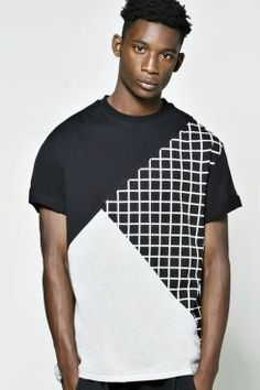 Spliced Grid Prints Longline T Shirt