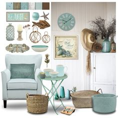 beach home by soofiia on Polyvore featuring interior, interiors, interior design, home, home decor, interior decorating, Pier 1 Imports, canvas, GreenGate and Colonial Mills