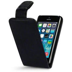 Pu leather flip case #cover with card slots for #apple #iphone se/5/5s - black,  View more on the LINK: http://www.zeppy.io/product/gb/2/191833681570/