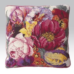 Posy of Flowers - Ehrman Tapestry - Elian McCready Needlepoint Pillows, Needlepoint Designs, Needlepoint Kits, Tapestry Kits, Tapestry Design, Cross Stitching, Cross Stitch Embroidery, Cross Stitch Pillow, Hand Embroidery Patterns